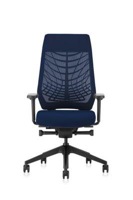 Interstuhl Bürostuhl Joyceis3 JC216, mit Armlehnen, Synchronmechanik, Flachsitz, Netzrücken, blau/schwarz