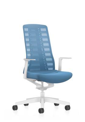 Interstuhl Bürostuhl PUREis3, feste Armlehnen, 3D-Auto-Synchronmechanik, Muldensitz, Netzrücken, pastellblau/weiß