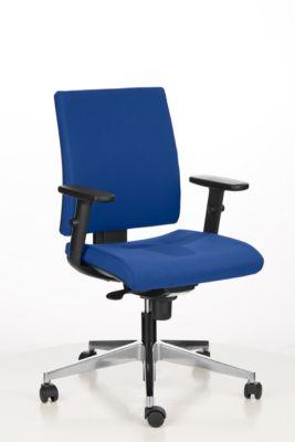 INTRATA-kantoorstoel, synchroonmechanisme, zonder armleuningen, voorgevormde zitting met knieprol, tot 110 kg, aluminium, blauw