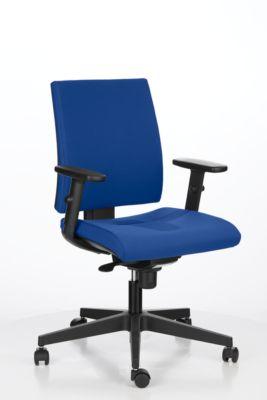 INTRATA-kantoorstoel, synchroonmechanisme, zonder armleuningen, voorgevormde zitting met knieprol, tot 110 kg, kunststof, blauw