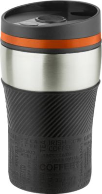 "Isolierbecher ""Crema Officina"", Edelstahl, auslaufsicher, 250 ml, orange/silber, WAB B50xT20 mm"