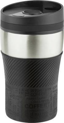 """Isolierbecher """"Crema Officina"""", Edelstahl, auslaufsicher, 250 ml, schwarz/silber, WAB B50xT20 mm"""