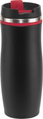 Isolierbecher Dark Crema, schwarz-rot