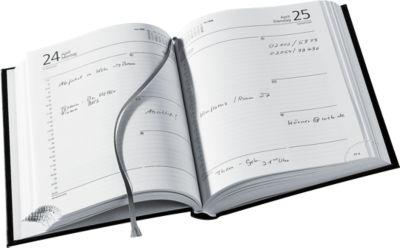 Jahresplaner Delta Line, Lederimitat, 400 Seiten, schwarz