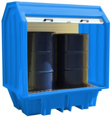 Jalousie-Gefahrstoffdepot für 2 x 205 l Fässer, 230 l Volumen, bis 650 kg, abschließbar, beidseitig unterfahrbar, PE, blau