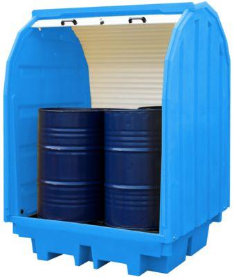 Jalousie-Gefahrstoffdepot für 4 x 205 l Fässer, 410 l Volumen, abschließbar, beidseitig unterfahrbar, PE, blau