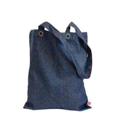 Jeans Tragetasche Kyoto, Denim, 100% OEKO-TEX, lange Henkel, 14 l, indigoblau + Werbedruck