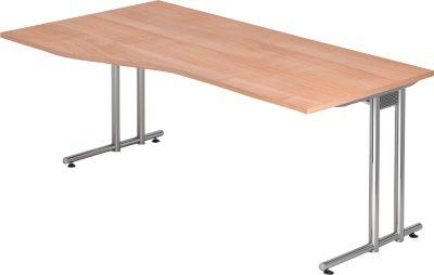 JENA Schreibtisch, C-Fuß, B 1800 mm, Gestell verchromt, Nussbaum-Dekor