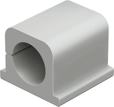 Kabel-Clips CAVOLINE® CLIP PRO, selbstklebend, für 1 Netzkabel +1 USB-Kabel, 4 Stück, grau
