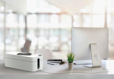 Kabelbox CAVOLINE® BOX, Kabelauslassschlitze, 5-er Steckdosenleiste, flammhemmender Kunststoff, grau