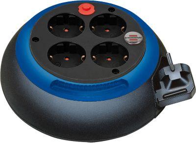 Kabelbox Comfort Line, 4 Schutzkontakt-Steckdosen, prakt. Drehring, Kabellänge 3m, schwarz/blau
