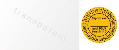 Kabelkeuringsvignetten, gekeurd door, volgens DGUV voorschrift 3 (2020-2029), Duitstalig