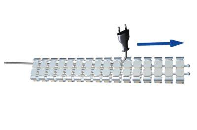 Kabelschlange Classic, mit Bodenplatte, L 1250 mm, silber
