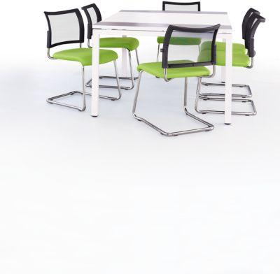 Kantoormeubelset 7 stuks. KLEUR vergadertafel, wit/antraciet, B 150 cm + 6 sledestoelen