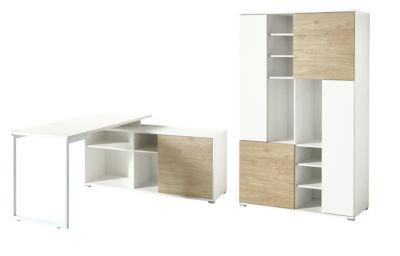 Kantoormeubelset PASEO 2-delige kantoormeubelset PASEO 2-delig eiken/wit, bureau met legbord, sledeframe + archiefkast H 1780 mm