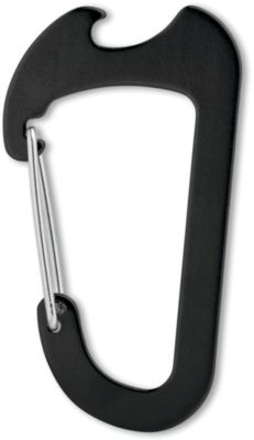 Karabiner ANDALE, Aluminium, mit Flaschenöffner, Lasergravur 40 x 4 mm, schwarz