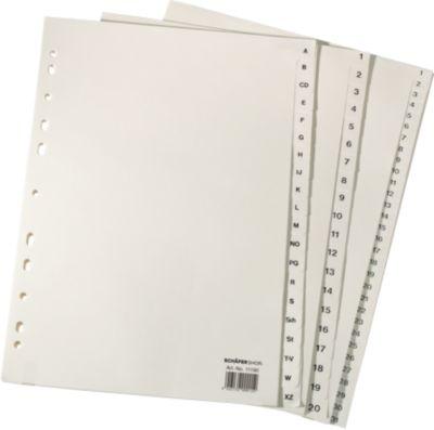 Kartonnen tabbladen , A4, gems, 1-10 (10-delig)