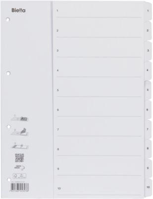 Kartonregister mit Fahnenstanzung 1-10
