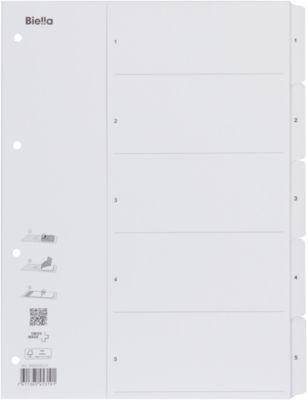 Kartonregister mit Fahnenstanzung 1-5