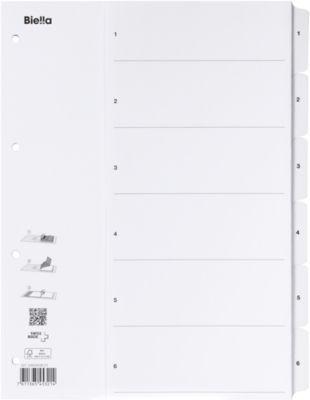 Kartonregister mit Fahnenstanzung 1-6