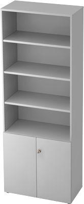 Kast met legborden TOPAS LINE, 4 ordnerhoogten rek, 2 ordnerhoogten deuren, lichtgrijs/lichtgrijs