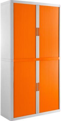 Kast met rolluik, B 1100 x D 415 x H 2040 mm, afsluitbaar, zonder legborden, Hoge-Slagvast polystyreen, wit/oranje