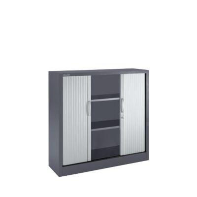 Kasten voor rolluiken, 3 ordenhoogtes, B 1200 mm, grafiet/aluminiumzilver, 3 ordners, B 1200 mm, grafiet/aluminium zilver
