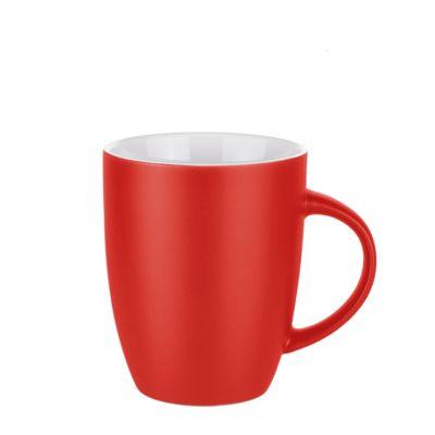 Keramik Tasse Elite Matt, für 250 ml, H 100 x Ø 82 mm, mit Henkel, Werbedruck 3-farbig 175 x 35 mm, mattrot/weiß