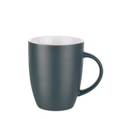 Keramik Tasse Elite Matt, für 250 ml, H 100 x Ø 82 mm, mit Henkel, Werbedruck 3-farbig 175 x 35 mm, mattschwarz/weiß