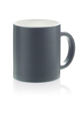 Keramik Tasse Oxford, für 340 ml, H 97 x Ø 80 mm, mit Henkel, Werbedruck 170 x 60 mm, mattgrau/weiß