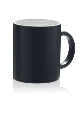 Keramik Tasse Oxford, für 340 ml, H 97 x Ø 80 mm, mit Henkel, Werbedruck 170 x 60 mm, mattschwarz/weiß