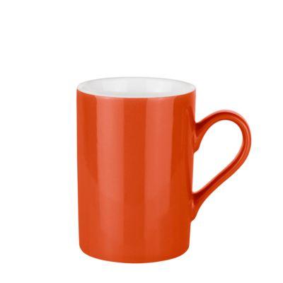 Keramik Tasse Prime Colour, für 250 ml, H 106 x Ø 74 mm, mit Henkel, Werbedruck 3-farbig 150 x 70 mm, orange/weiß