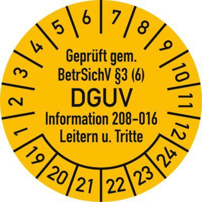 Keuringsvignetten, gekeurd volgens BetrSichV §3 (6) DGUV Information 208-016 ladders + opstapjes (2019-2024), Duitstalig