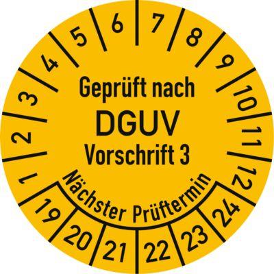 Keuringsvignetten, gekeurd volgens DGUV voorschrift 3 (2019-2024), Duitstalig, 100 stuks