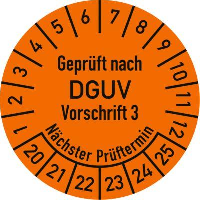 Keuringsvignetten, gekeurd volgens DGUV voorschrift 3 (2020-2025), Duitstalig, 100 stuks