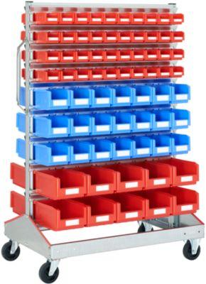 Keuringswagen voor geopende magazijnbakken met open voorzijde, dubbelzijdig, B 1130 x D 710 x D 710 x H 1705 mm, 80 x 0,7 l rood, 42 x 3 l blauw, 20 x 7,5 l rood, 20 x 7,5 l rood