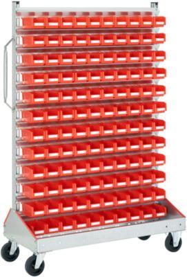 Keuringswagen voor geopende magazijnbakken met open voorzijde, enkelzijdig, B 1130 x D 510 x H 1705 mm, 120 x 0,7 l. rood