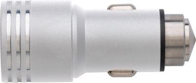 KFZ-Ladestecker Racing, aus Edelstahl, 2 USB-Anschlüsse, silber