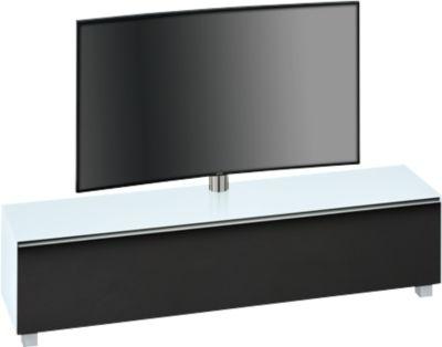 Klankbord Nice, met TV-houder, zwenkbare houder, 6 vakken, wit glas/gematteerd glas