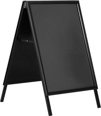 Klantstopper A1, weerbestendig, kan aan beide zijden worden gebruikt, zwart gepoedercoat