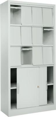 Klappenschrank GE 12, B 950 x T 400 x H 1935 mm, lichtgrau, 12 Einzelfächer mit Schiebetürenschrank