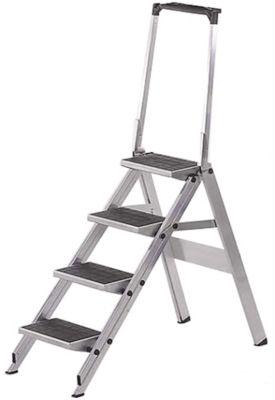 Klapptritt mit Bügel, aluminium, 4 Stufen