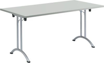 Klaptafel, 1600 x 700 mm, onderstel aluminium wit, lichtgrijs