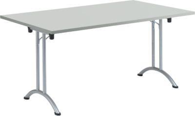Klaptafel, 1600 x 800 mm, onderstel aluminium wit, lichtgrijs