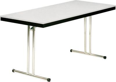 Klaptafel model 734, 1200 x 700 mm, onderstel chroom, zwart/lichtgrijs