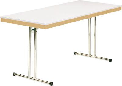 Klaptafel model 734, 1400 x 700 mm, onderstel chroom, naturel beuken/wit