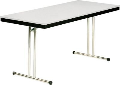 Klaptafel model 734, 1400 x 700 mm, onderstel chroom, zwart/lichtgrijs