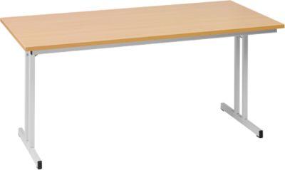 Klaptafel TR, B 1600 x D 700 x H 720 mm, beukenhouten decor/aluminiumzilver, B 1600 x D 700 x H 720 mm.