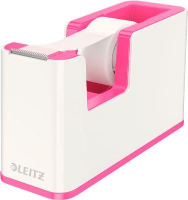 Klebefilmabroller Leitz WOW, Tischabroller, weiß/pink