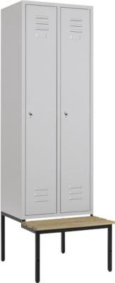 Kledingkast, 2 delen, 300 mm, draaislot, met bankje, deur lichtgrijs, met deur, 2 delen, 300 mm.